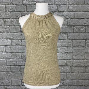 WHBM Gold Metallic Sleeveless Sweater Tank